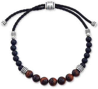 Esquire Men Jewelry Tiger Eye (8mm) and Onyx (6mm) Beaded Bolo Bracelet in Sterling Silver