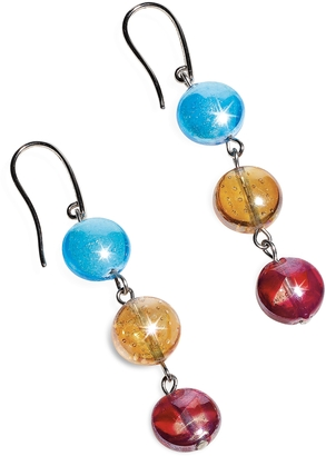 Antica Murrina Redentore 1 - Multicolor Murano Glass & Silver Leaf Dangling Earrings $62 thestylecure.com
