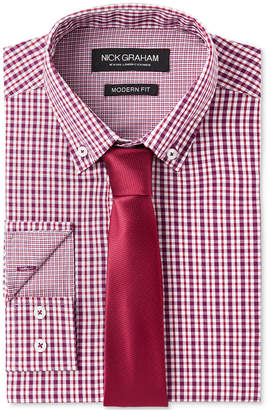 Nick Graham Men Fitted Multi Gingham Dress Shirt & Micro Solid Dobby Tie Set