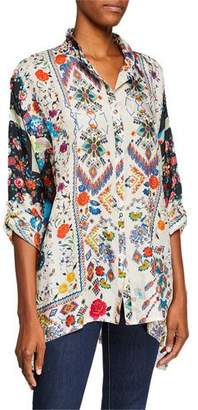 Johnny Was Miya Button-Front Mixed-Print Silk Georgette Blouse