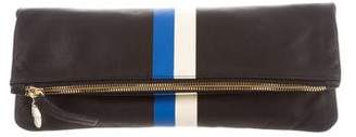 Clare Vivier Striped Leather Fold-Over Clutch