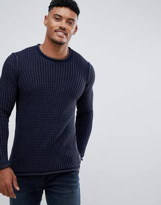 Replay waffle knitted jumper in navy