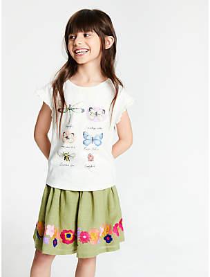 John Lewis & Partners Girls' Botanical Print T-Shirt, Cream