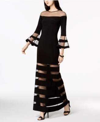 Betsy & Adam Illusion-Stripe Bell-Sleeve Gown, in regular and petite sizes