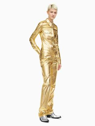 Calvin Klein leather high rise straight leg jeans in gold