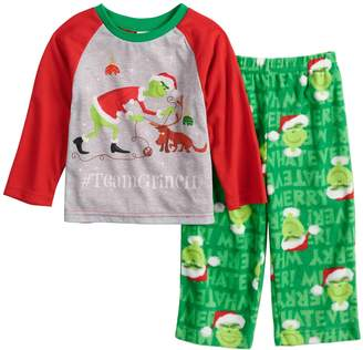 """Dr. Seuss Toddler Jammies For Your Families How the Grinch Stole Christmas Grinch """"#TeamGrinch"""" Top & Microfleece Bottoms Pajama Set"""