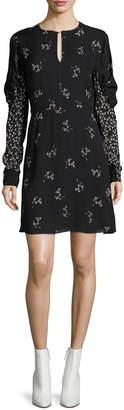 Tibi Lila Floral-Print A-line Mini Dress