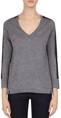 Gerard Darel Cara Sequin-Sleeve Merino-Wool Sweater