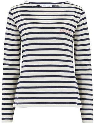 598df5c995 Maison Labiche Paradis Long Sleeve Sailor Stripe Tee in Ivory and Navy