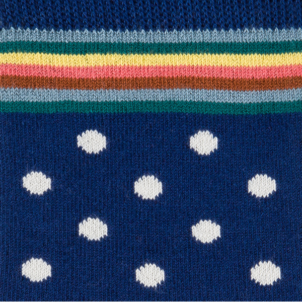 Men's Navy Polka Dot Socks With Multi-Stripe Trim 3