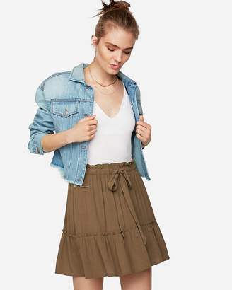 Express Ruffle Sash Tie Mini Skirt