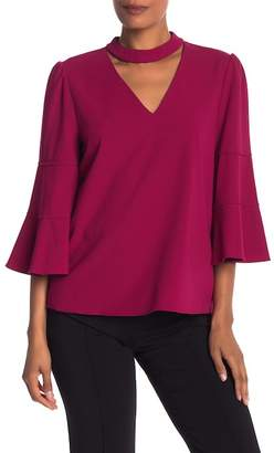 Laundry by Shelli Segal Crepe Mock Neck Collar Top