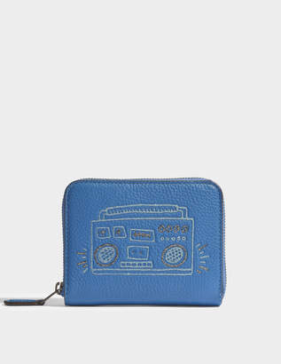 Coach Small Zip Around Wallet in Sky Blue Leather