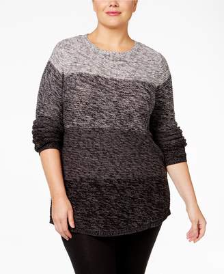 Style&Co. Style & Co. Womens Plus Ombre Knit Sweater Gray