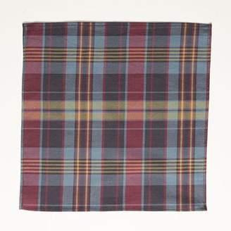 Blade + Blue Olive, Burgundy, Navy Plaid Cotton Pocket Square
