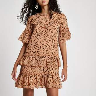 River Island Beige leopard print sequin swing dress