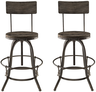 Modway Procure Bar Stool Pine Wood & Iron Set