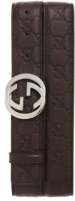 Men's Gucci Logo Buckle Calfskin Leather Belt $375 thestylecure.com