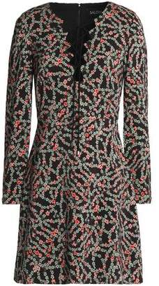 Saloni Lace-Up Floral-Print Crepe Mini Dress