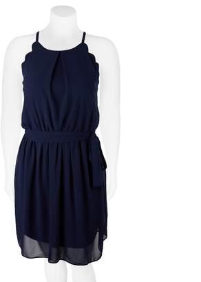 Iz Byer Juniors' Plus Size Belted Scallop Skater Dress