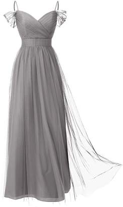 Dresstells reg; Long Prom Dress Tulle Off Shoulder Bridesmaid Dress with Pleat Light Grey