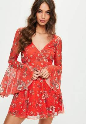 Missguided Red Floral Wrap Front Skater Dress