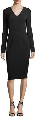Diane von Furstenberg Long-Sleeve V-Neck Tailored Dress