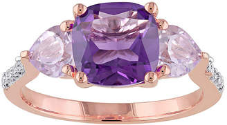 FINE JEWELRY Genuine Amethyst, Rose de France and Diamond-Accent Rose Gold Over Silver Ring