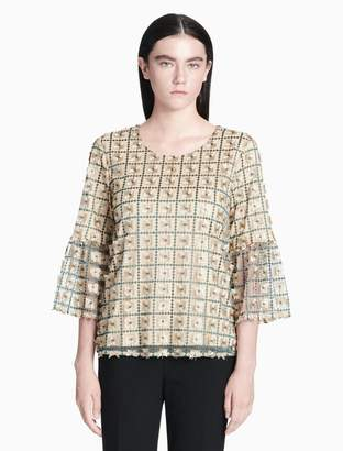 Calvin Klein embroidered net 3/4 bell sleeve top