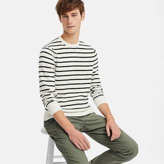 Uniqlo Men's Supima Cotton Striped Crew Neck Sweater