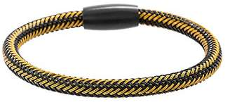 Ben Sherman Men's Gold and Black IP Wired Braided Bracelet with Stainless Steel Black IP Magnetic Closure
