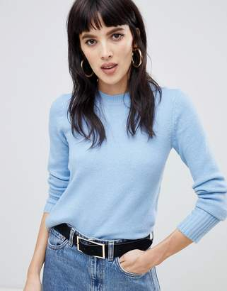 Warehouse cozy crew neck sweater in blue