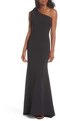 Eliza J One-Shoulder A-Line Gown
