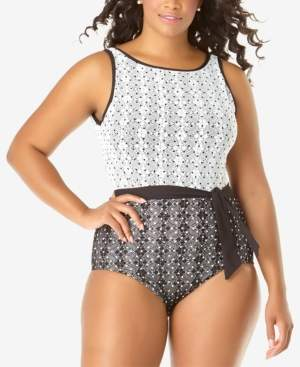 Anne Cole Plus Size In First Lace Dot-Print One-Piece Swimsuit Women's Swimsuit