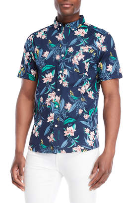 Oxford Lads Lily Floral Button-Down Sport Shirt