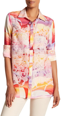 Robert Graham Lottie Embroidered Print Silk Blouse $348 thestylecure.com