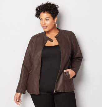 Avenue Quilted Sleeve Faux Leather Jacket