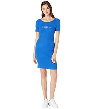 Women S Short Sleeve Crew Neckline Dress With A V Back