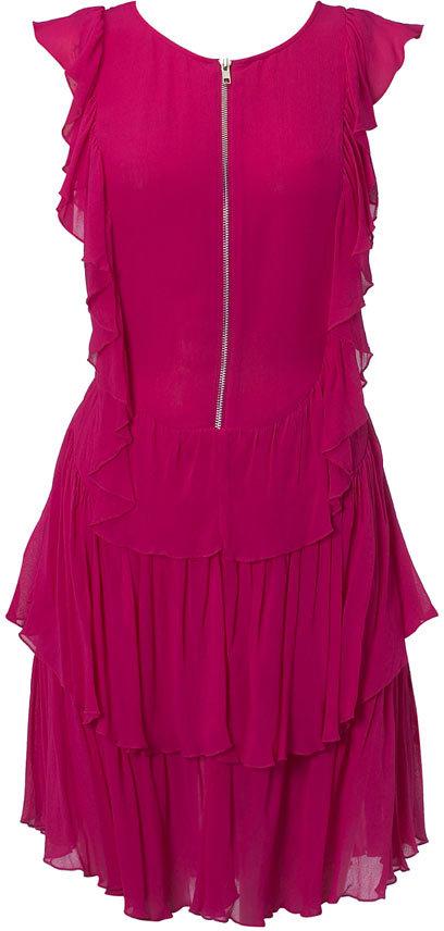 Pink zip frill ruffle dress