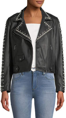 Rebecca Minkoff Wes Leather Moto Jacket w/ Pearls
