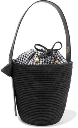 Cesta Collective - Lunchpail Leather-trimmed Woven Sisal Bucket Bag - Black