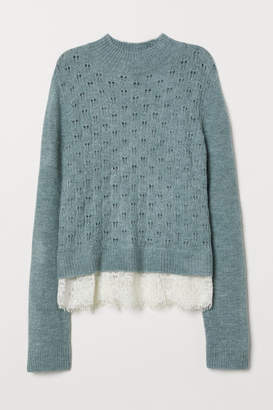 H&M Fine-knit Sweater with Lace - Turquoise