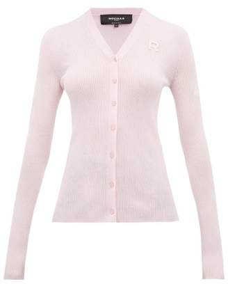 Rochas Logo Embroidered Wool Cardigan - Womens - Pink
