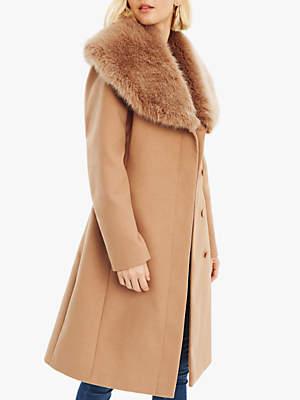 220fffa7a956 Oasis Faux Fur Collar Birch Coat, Neutral