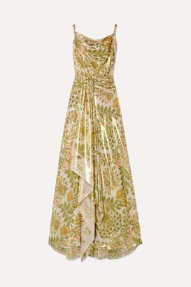 Oscar de la Renta Draped Ruched Printed Silk-blend Lame Gown - Green