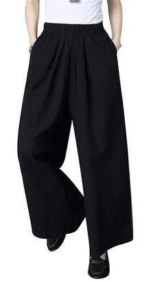 OTW Women Cotton Linen Plus Size Ankle Elastic Waist Solid Color Wide Leg Palazzo Lounge Pants L