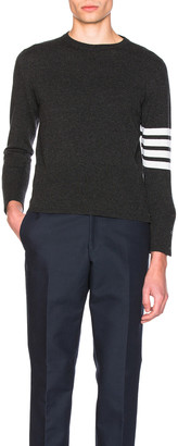 Thom Browne Classic Cashmere Crewneck Sweater in Dark Grey | FWRD