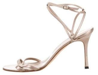 Manolo Blahnik Metallic Ankle Strap Sandals