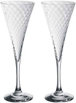 """Orrefors Crystal Champagne Flutes """"Helena"""" (Set of 2)"""