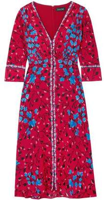 Saloni Floral-Print Silk Crepe De Chine Dress